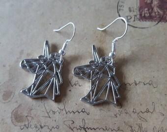 Hoofd van de Eenhoorn - oorbellen ~ zilver ~