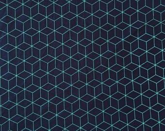 Hexagon Fabric,Blue Fabric by the Yard, Geometric Fabric Honeycomb Fabric Quilting Fabric 100% Cotton Fabric