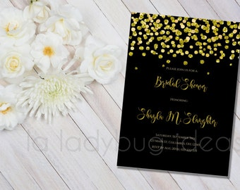 Printable Bridal Shower Invitation, Black and golden confetti, Invitacion Despedida de Soltera. Digital Invitation. Printable wedding Invite