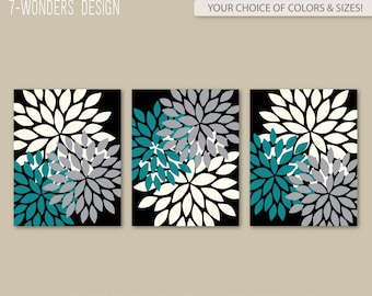 Modern Abstract Flower Bursts Set (3) 5x7, 8x10 Or 11x14 // Teal