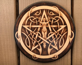 Celtic Goddess Pentacle - One of a Kind Altar Paten