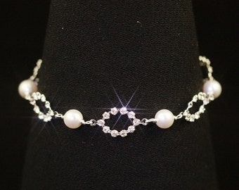 Pearl Wedding Bracelet, Rhinestone Bridal Bracelet, Swarovski Crystal Bracelet, Silver Wedding Jewelry, Delicate Bridal Jewelry -- CLAIRE