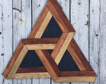 Tri-Star-wall panel of wood, 3d optical illusion