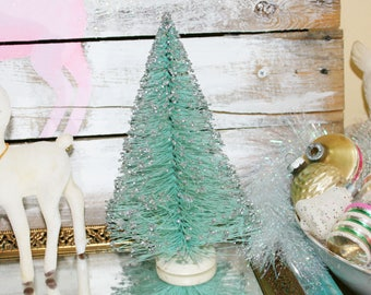 Vintage bottlebrush tree, Aqua Bottlebrush Tree, Vintage Tree, Christmas Tree, Bottlebrush tree, bottle brush trees