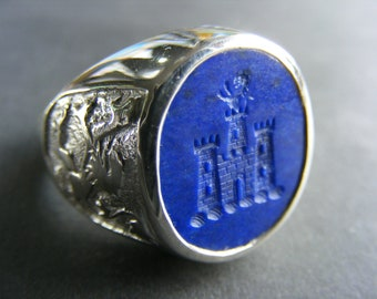 Lapis Family Crest Ring With Castle Mans  Signet Sterling Silver 925
