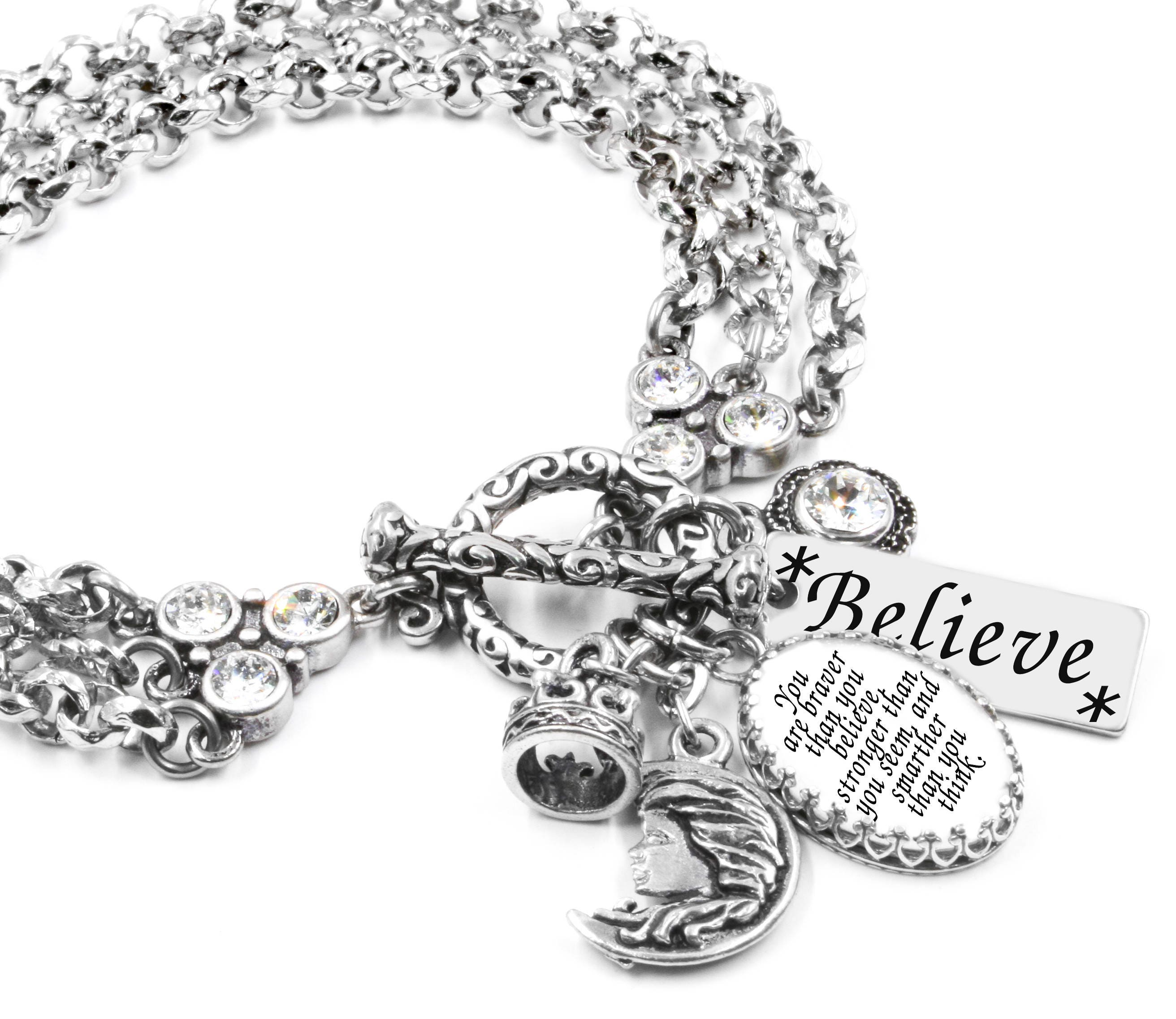 Inspirational Charm Bracelets: Quote Charm Bracelet Quote Bracelet Inspirational Bracelet