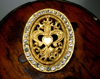 Fleur de lis GOLD Oval Pin with White Rhinestones 1980s Brooch, Goldtone , Unused
