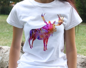 Moose T-shirt - Animal Tee - Fashion women's apparel - Colorful printed tee - Gift Idea