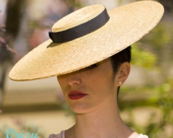 The Summer Vogue Hat - Natural Straw Wide Brim Races Hat w/ Dark Navy Ribbon - Formal Hat - Ladies Boat Hat - Ascot Hat
