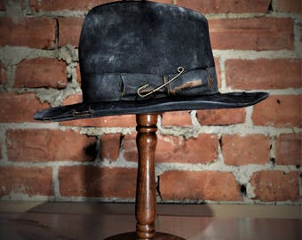 Unique distressed black fur felt fedora made to measure
