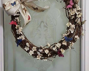 "18"" Grapevine Butterfly Spring Wreath"
