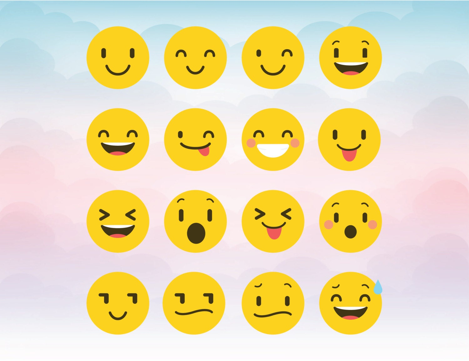 Smiley faces emoji silhouette cameo cutting files zoom buycottarizona Images