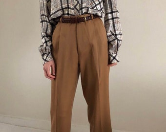 pleated trousers / baggy pants / vintage high waisted pants / vintage wool pants / tobacco pants | 29W