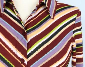 1970s Shirt - Chevron Stripe - Button Up - Long Sleeve - Multicoloured Stripe - Retro Hipster Groovy Vintage Top - Size Small Medium