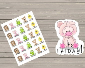 TGIF Stickers  Planner Stickers It's Friday Stickers Happy Planner,  Fits Erin Condren Life Planner & Other Planners Friday Stickers