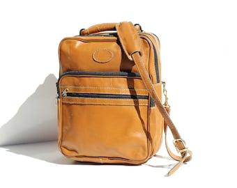 Vintage Men's Butterscotch Sundae Tan Leather Work Laptop Bag