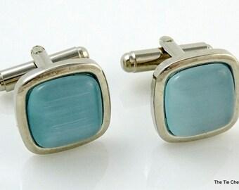 Light Blue Glass Cufflinks Silver Tone Square