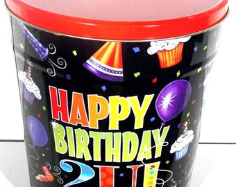 3.5 Gallon Happy Birthday Popcorn Tin with Gourmet Popcorn Pick Your Flavor