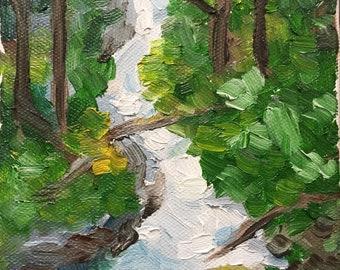 Original oil painting - miniature - waterfall
