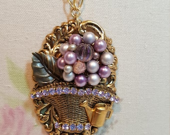 Re-purposed, upcycled assemblage vintage style rhinestone lavender flower basket necklace