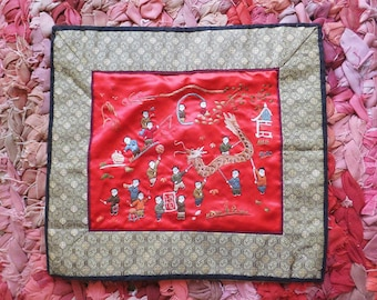 Chinese Embroidery Panel Red Chinese Embroidered Picture Dragon Kite Traditional Chinese Decor Asian Mid Century Decor Textile Wall Hanging