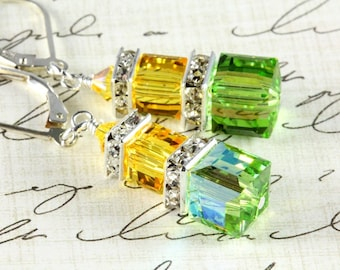 Swarovski Crystal Cube Earrings, Sterling Silver, Peridot and Light Topaz, Citrus Colors