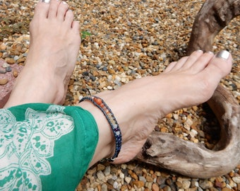 Rainbow Anklet. Summer Jewelry. Foot Jewelry. Ankle Bracelet. Stone Anklet. Leather Wrap Anklet. Nature Jewelry. Boho Gypsy Anklet. Gift Her