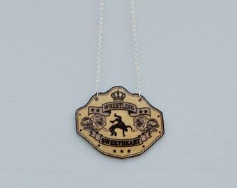Wrestling Sweetheart Title Belt Plaque Necklace