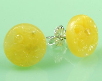 Vintage Glass Yellow Post Earrings