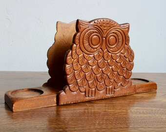 Retro, Boho, Wooden Owl Napkin Holder, Salt and Pepper Holder, Caddy, Hippie Bohemian Funky, Wooden, Owl Lover