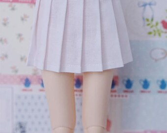 BJD Pleated Skirt - Slim MSD Minifee or SD - Solid White