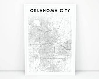 Oklahoma city poster etsy oklahoma city map print oklahoma ok usa map art poster city street road map malvernweather Images