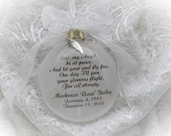 In Memory Ornament Rest, My Angel, Be At Peace Personalized FREE