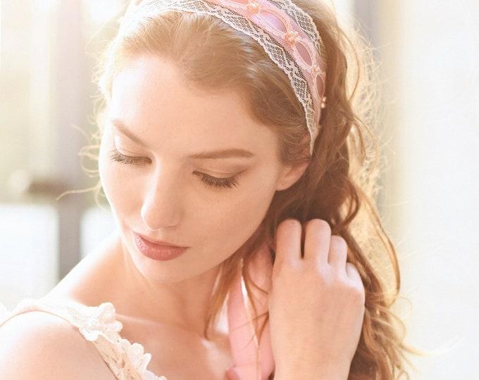Bridal Lace Headband, Pink Headpiece, Bohemian Headband, Vintage Lace Headpiece, Lace Sash, Style 303