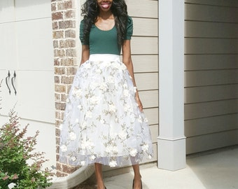 3-d Floral Organza and Tulle Midi Skirt (XS - L)