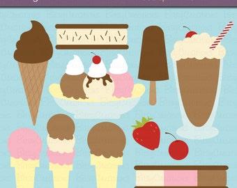 Ice Cream Digital Art Set Clipart Commercial Use Clip Art INSTANT DOWNLOAD Dessert Frozen Treats Clipart