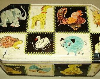 1950's Biscuit Tin Comical Animals Carr's of Carlisle