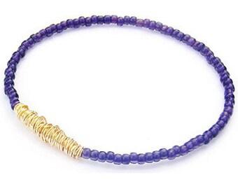 Beaded Bracelet // Purple Gold Bangle Bracelet // Eco-Friendly Seed Bead Jewelry // Bridesmaid Gift // Friendship Bracelet // Recycle Music