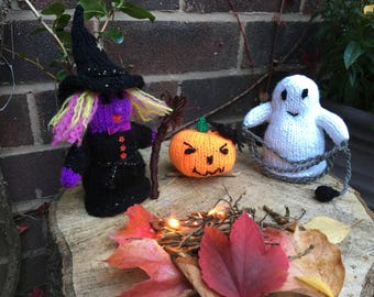 Witch, Ghost and Pumpkin - Knitted Set of 3
