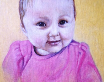 Custom Portrait, one child, acrylic on 11x14 canvas board