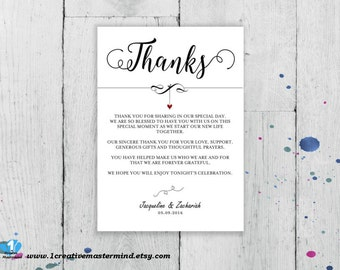 DIY Thank You Flat Card, Thank you Letter, Printable Wedding note,  special thanks, Digital Instant Download, Editable Template, #1CM83-1