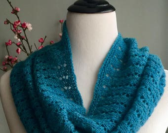 Hand knit blue cashmere cowl, lace cashmere infinity scarf, blue lace infinity scarf, turquoise cashmere cowl, hand knit gift.