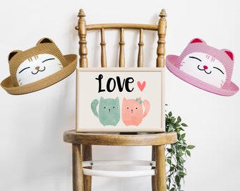 Straw Bowler Hat, Cat Kitty, Kid Unisex Boy Girl, Brown Pink
