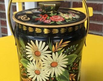 Vintage Floral Tin Box, Daisy Tin, Murray Allen Tin, Made in England, Black Tin