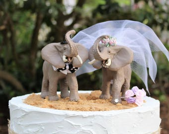 Elephant Wedding Cake Topper, Animal Cake Topper, Bride and Groom, Unique Cake Topper, Birthday Cake Topper, Animal-Safari-, Zoo Wedding