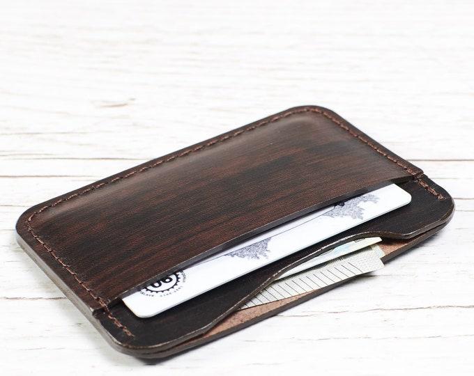Dark Brown Leather card holder - Two slot slim wallet
