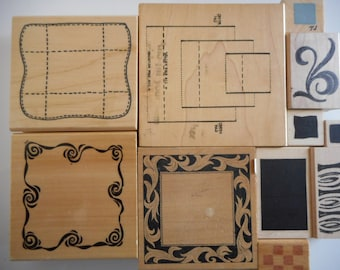 11 Gently Used - New Various Pattern Rubber Stamps, Free Shipping