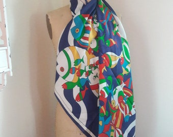 VINTAGE ABSTRACT FISH 80's X-Large Print Silk Scarf by Albert Nipon