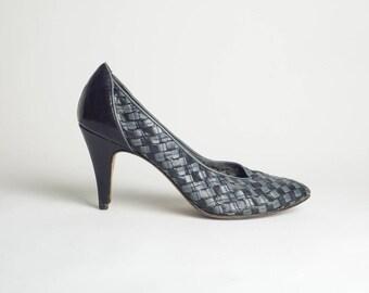 Grey Vintage Heels / Checkered Heels / Leather Vintage Shoes / Grey Stiletto High Heels / Vintage Grey Pumps / Vintage Leather Heels