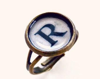 Ramona - Typewriter Key Initial Letter Ring -  Antique Brass - Adjustable Typewriter Ring
